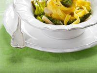 Scallop and Asparagus Tagliatelle with Zucchini Blossoms recipe