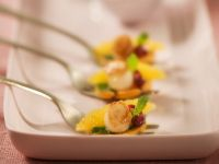 Scallops with Sweet Potatoes and Pomegranate Seeds recipe