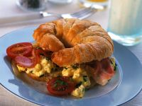 Scrambled Eggs and Tomato Croissant with Bacon recipe