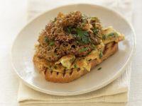 Scrambled Eggs with Cauliflower Mushrooms and Toast recipe