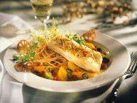 Sea Bass with Pasta and Orange Sauce recipe