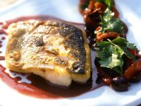 Sea Bass with Red Wine Sauce and Tomato Salad recipe