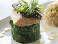 Sea Bass with Sautéed Spinach recipe