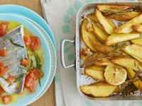 Sea Bream with Baked Potatoes recipe