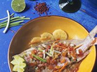 Sea Bream with Limes, Tomatoes and Scallions recipe