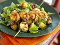 Seafood Kebabs with Salad recipe