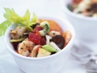 Seafood Salad with Celery, Tomatoes and Olives recipe