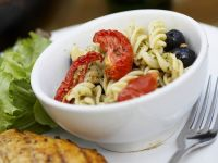Seared Chicken Breasts with Almond Pesto Pasta Salad recipe