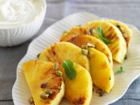 Seared Pineapple with Pistachios recipe