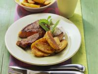 Seared Steak with Baked Potatoes and Quark recipe