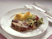 Seared Steak with Green Peppercorn Sauce and Duchesse Potatoes recipe