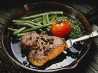 Seared Steaks with Green Beans, Tomatoes and Green Peppercorns recipe