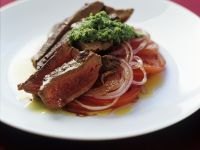Seared Steaks with Tomato Salad and Pesto recipe