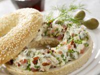 Sesame Bagel with Smoked Ham Cream Cheese recipe