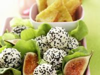 Sesame Cream Cheese Balls with Figs and Salad recipe