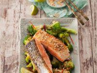 Sesame Crusted Salmon with Broccoli recipe