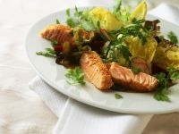 Sesame Salmon Strips with Salad recipe