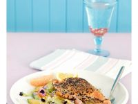 Salmon with Avocado, Celery and Grapefruit recipe