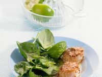 Sesame Scallops with Spinach Salad recipe