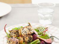 Sesame Tofu Skewers with Mixed Greens and Raspberry Vinaigrette recipe