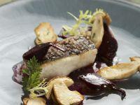 Sheatfish with Beets and Mushrooms recipe