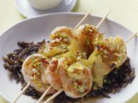 Shrimp and Star Fruit Skewers with Wild Rice recipe