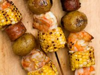 Shrimp, Corn, and Sausage Skewers recipe