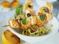 Shrimp, Salmon and Zucchini Skewers with Herb Butter recipe