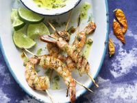 Shrimp Skewers with Chili-Herb Dip recipe