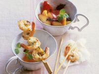 Shrimp Skewers with Tomato-Nectarine Salad recipe
