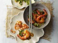 Shrimp with Bok Choy and Green Asparagus recipe