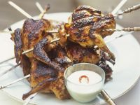 Skewered Quail with Dipping Sauce recipe
