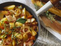 Skillet Potatoes with Smoked Fish, Bacon and Tomatoes recipe