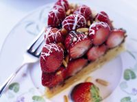 Slice of Fruit Tart with Chocolate Drizzle recipe