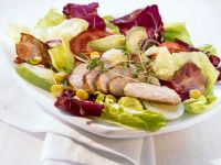 Sliced Chicken and Bacon with Mixed Leaves recipe