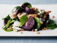 Sliced Chicken and Beets with Salad Leaves recipe