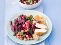 Sliced Chicken with Bean and Beets recipe