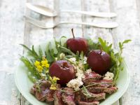Sliced Steak with Poached Fruit recipe