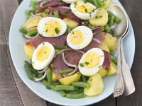 Sliced Tuna and Egg Platter recipe