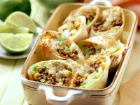 Sliced Vegetable and Beef Tortillas