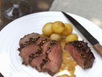 Sliced Venison Steaks with Peppercorn Crust recipe