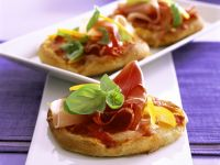 Small Cheese Pizzas with Ham recipe