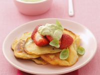 Small Pancakes with Basil Mousse and Strawberries recipe