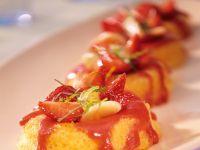 Small Savarin Cakes with Strawberries recipe