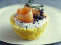 Smoked Salmon and Caviar Potato Cakes recipe