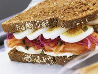 Egg and Fish Rye Sandwich