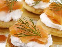 Smoked Salmon Blini Canapes recipe