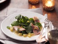 Smoked Trout Fillets with Potato Puree and Lamb's Lettuce recipe