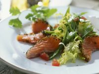 Snow Pea Salad with Marinated Salmon recipe