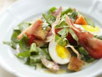 Sorrel Salad with Bacon, Egg and Croutons recipe
